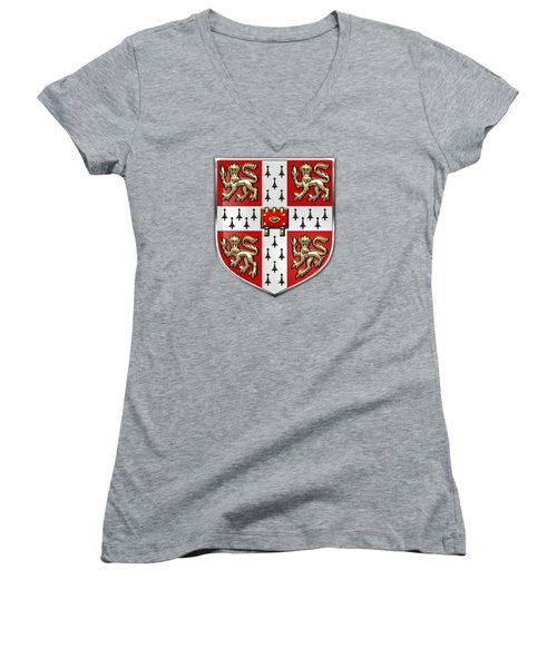 University Of Cambridge Seal - Coat Of Arms Over Colours Women's V-Neck T-Shirt (Junior Cut) by Serge Averbukh