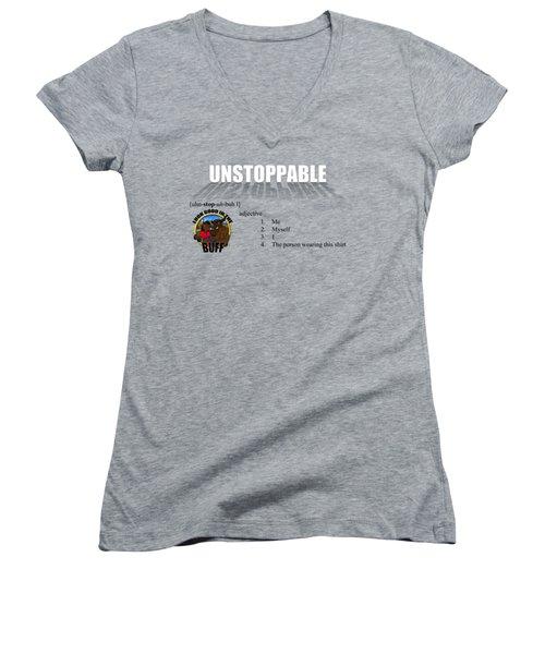 Unstoppable V1 Women's V-Neck T-Shirt (Junior Cut) by Michael Frank Jr