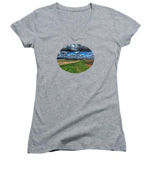 Van Duzer Vineyards View Women's V-Neck T-Shirt (Junior Cut) by Thom Zehrfeld