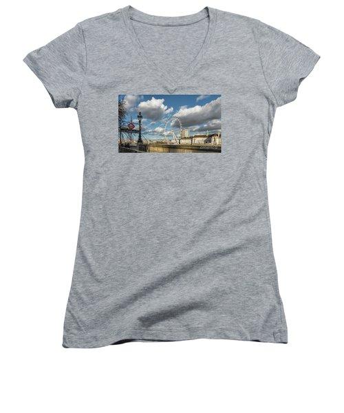 Victoria Embankment Women's V-Neck T-Shirt (Junior Cut) by Adrian Evans