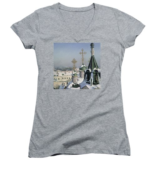 View From A Window Of The Moscow School Of Painting Women's V-Neck T-Shirt (Junior Cut) by Sergei Ivanovich Svetoslavsky