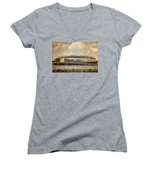 Vintage Old Yankee Stadium Women's V-Neck T-Shirt (Junior Cut) by Joann Vitali