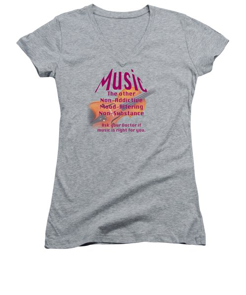Violin Or Viola Music Is Right For You 5499.02 Women's V-Neck T-Shirt (Junior Cut) by M K  Miller