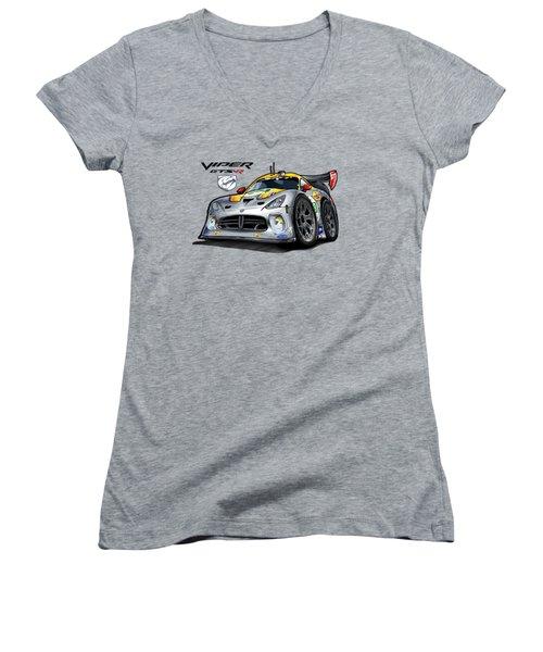Viper Gts-r Car-toon Women's V-Neck T-Shirt (Junior Cut) by Steven Dahlen