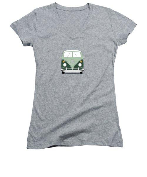 Vw Bus Green Women's V-Neck T-Shirt (Junior Cut) by Mark Rogan