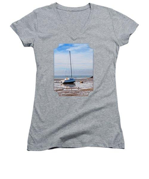 Waiting For High Tide Women's V-Neck T-Shirt (Junior Cut) by Gill Billington