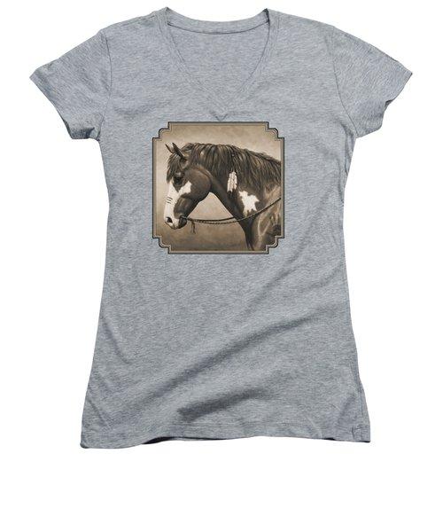 War Horse Aged Photo Fx Women's V-Neck T-Shirt (Junior Cut) by Crista Forest