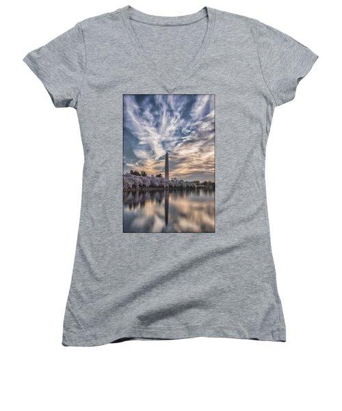 Washington Blossom Sunrise Women's V-Neck T-Shirt (Junior Cut) by Erika Fawcett