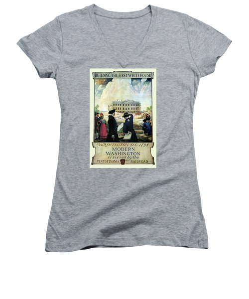 Washington D C Vintage Travel 1932 Women's V-Neck T-Shirt (Junior Cut) by Daniel Hagerman