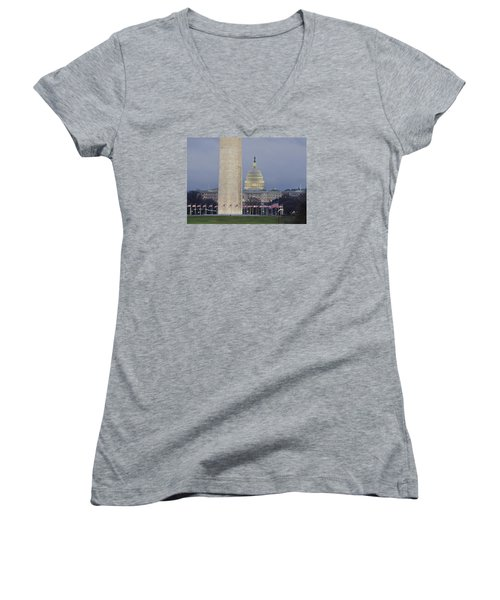 Washington Monument And United States Capitol Buildings - Washington Dc Women's V-Neck T-Shirt (Junior Cut) by Brendan Reals