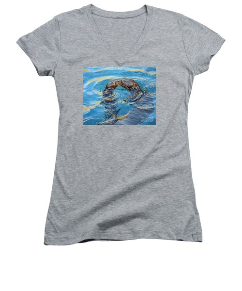 Water Kisses Women's V-Neck T-Shirt (Junior Cut) by Jamie Pham