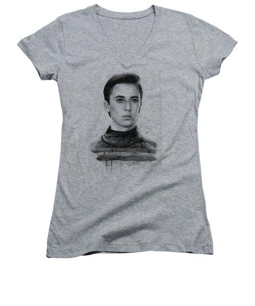 Wesley Crusher Star Trek Fan Art Women's V-Neck T-Shirt (Junior Cut) by Olga Shvartsur