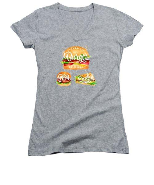 White Burger Women's V-Neck T-Shirt (Junior Cut) by Aloke Design