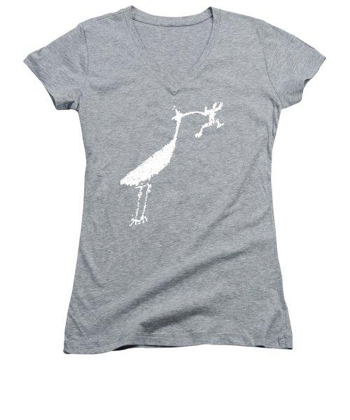 White Petroglyph Women's V-Neck T-Shirt (Junior Cut) by Melany Sarafis