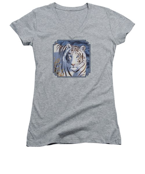 White Tiger - Crystal Eyes Women's V-Neck T-Shirt (Junior Cut) by Crista Forest