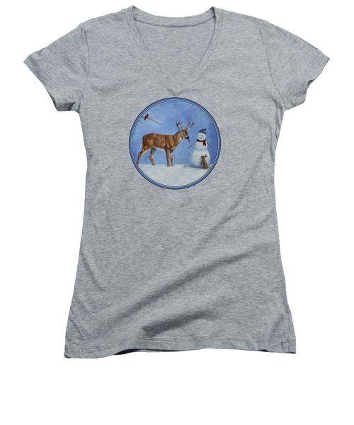 Whose Carrot Seasons Greeting Women's V-Neck T-Shirt (Junior Cut) by Crista Forest