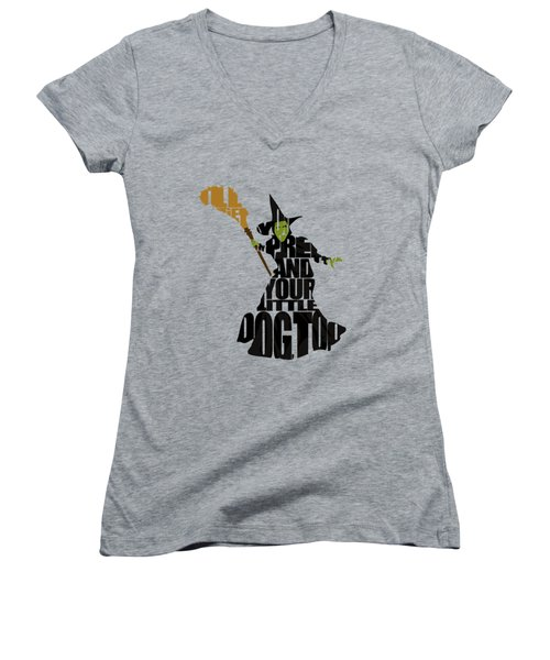 Wicked Witch Of The West Women's V-Neck T-Shirt (Junior Cut) by Ayse Deniz