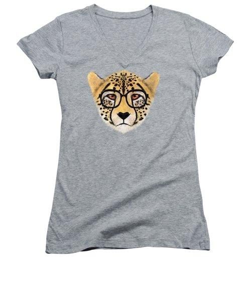 Wild Cheetah With Glasses  Women's V-Neck T-Shirt (Junior Cut) by David Ardil