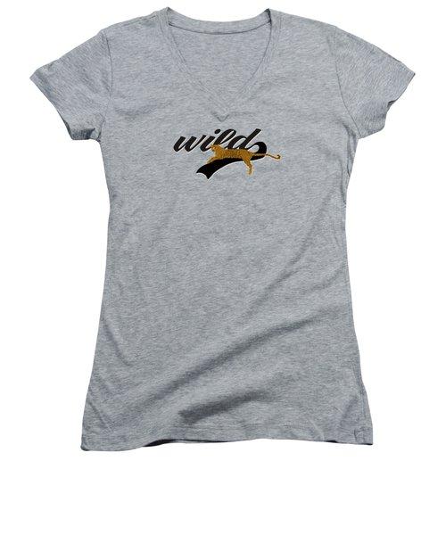 Wild Women's V-Neck T-Shirt (Junior Cut) by Priscilla Wolfe