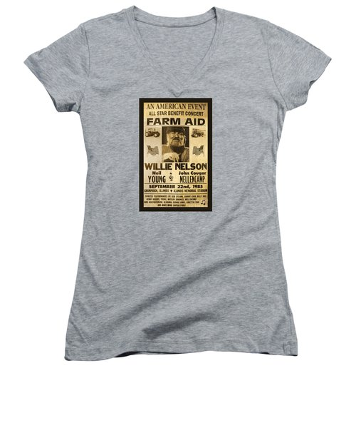 Willie Nelson Neil Young 1985 Farm Aid Poster Women's V-Neck T-Shirt (Junior Cut) by John Stephens