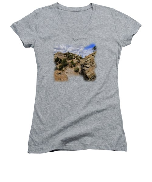 Windy Point No.13 Women's V-Neck T-Shirt (Junior Cut) by Mark Myhaver