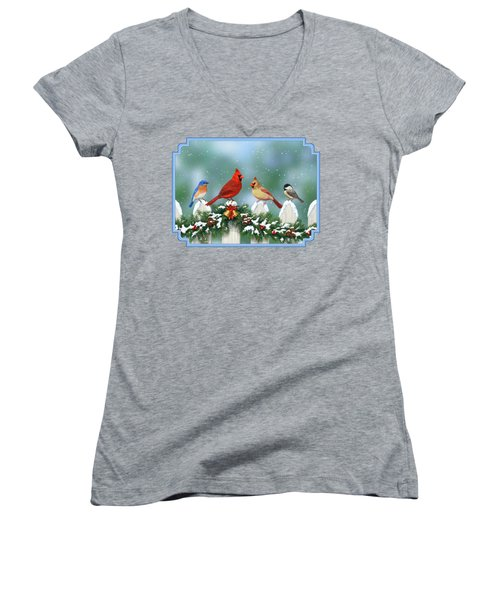 Winter Birds And Christmas Garland Women's V-Neck T-Shirt (Junior Cut) by Crista Forest