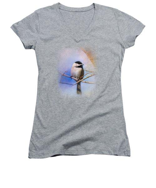 Winter Morning Chickadee Women's V-Neck T-Shirt (Junior Cut) by Jai Johnson