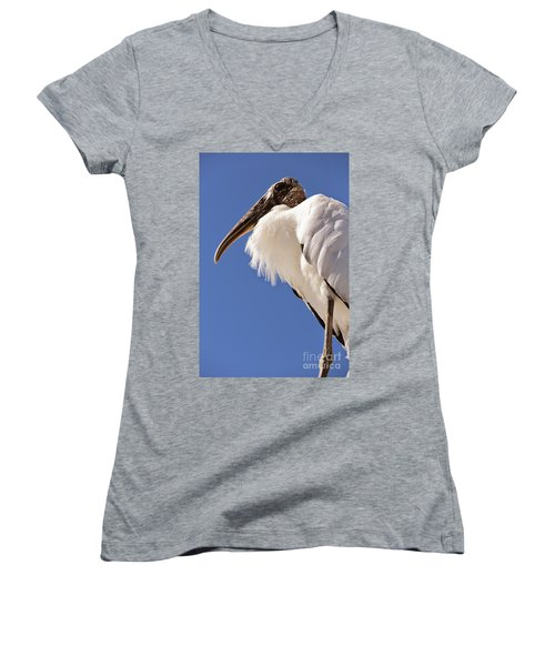 Wonderful Wood Stork Women's V-Neck T-Shirt (Junior Cut) by Carol Groenen