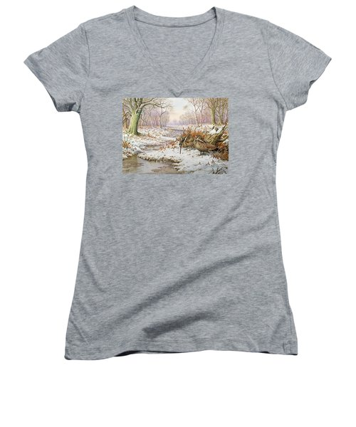 Woodcock Women's V-Neck T-Shirt (Junior Cut) by Carl Donner