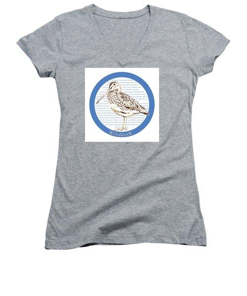 Woodcock Women's V-Neck T-Shirt (Junior Cut) by Greg Joens