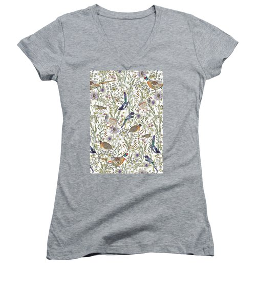 Woodland Edge Birds Women's V-Neck T-Shirt (Junior Cut) by Jacqueline Colley
