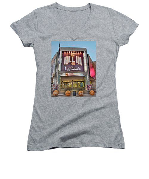 World Champion Cleveland Cavaliers Women's V-Neck T-Shirt (Junior Cut) by Frozen in Time Fine Art Photography