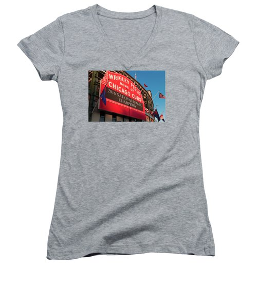 Wrigley Field Marquee Angle Women's V-Neck T-Shirt (Junior Cut) by Steve Gadomski