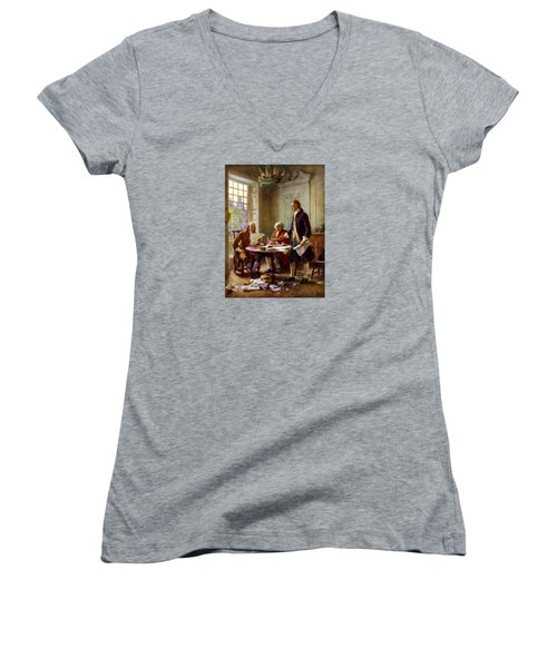 Writing The Declaration Of Independence Women's V-Neck T-Shirt (Junior Cut) by War Is Hell Store
