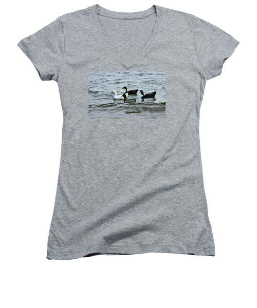 Yak Yak Yak One In Every Crowd Women's V-Neck T-Shirt (Junior Cut) by Kristin Elmquist