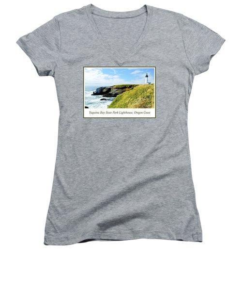 Women's V-Neck T-Shirt (Junior Cut) featuring the photograph Yaquina Bay Lighthouse Oregon by A Gurmankin
