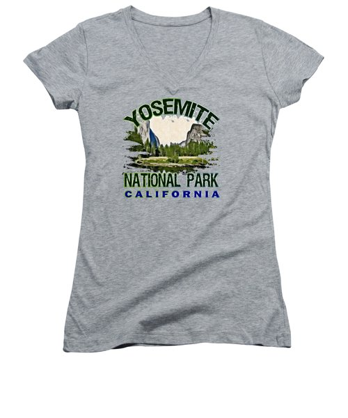Yosemite National Park Women's V-Neck T-Shirt (Junior Cut) by David G Paul