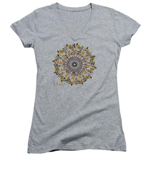 Zeerkl Of Music Women's V-Neck T-Shirt (Junior Cut) by Edelberto Cabrera