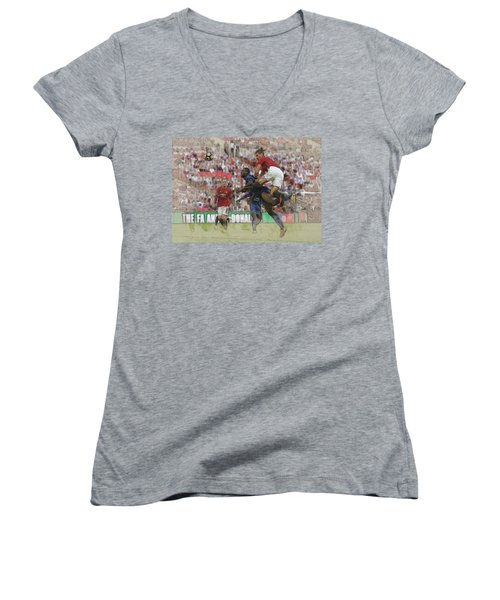 Zlatan Ibrahimovic Header Women's V-Neck T-Shirt (Junior Cut) by Don Kuing