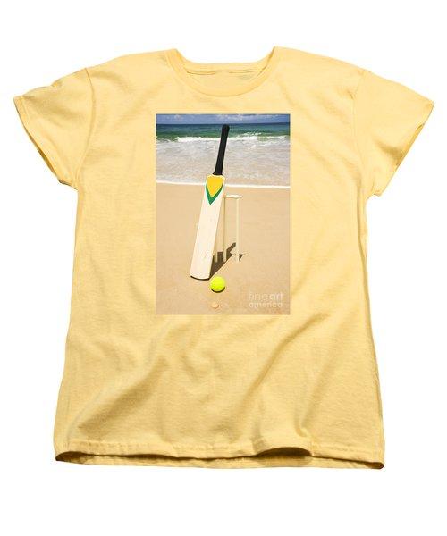 Bat Ball And Stumps Women's T-Shirt (Standard Cut) by Jorgo Photography - Wall Art Gallery