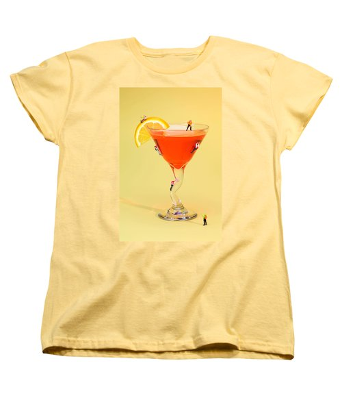 Climbing On Red Wine Cup Women's T-Shirt (Standard Cut) by Paul Ge