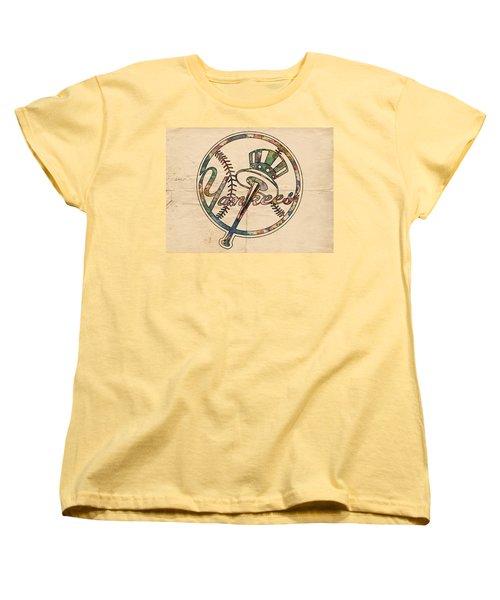 New York Yankees Poster Vintage Women's T-Shirt (Standard Cut) by Florian Rodarte