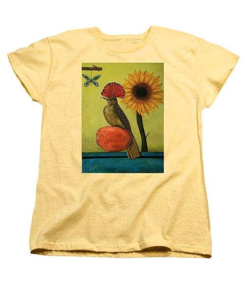 Royal Flycatcher  Women's T-Shirt (Standard Cut) by Leah Saulnier The Painting Maniac
