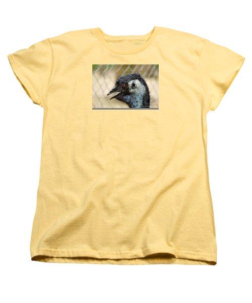 Smiley Face Emu Women's T-Shirt (Standard Cut) by Kaye Menner