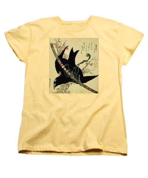 The Little Raven With The Minamoto Clan Sword Women's T-Shirt (Standard Cut) by Katsushika Hokusai
