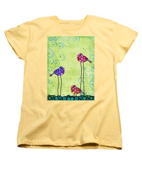 Three Birds - Spring Art By Sharon Cummings Women's T-Shirt (Standard Cut) by Sharon Cummings