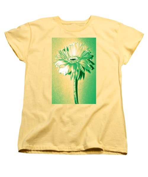 Touch Of Turquoise Zinnia Women's T-Shirt (Standard Cut) by Sherry Allen