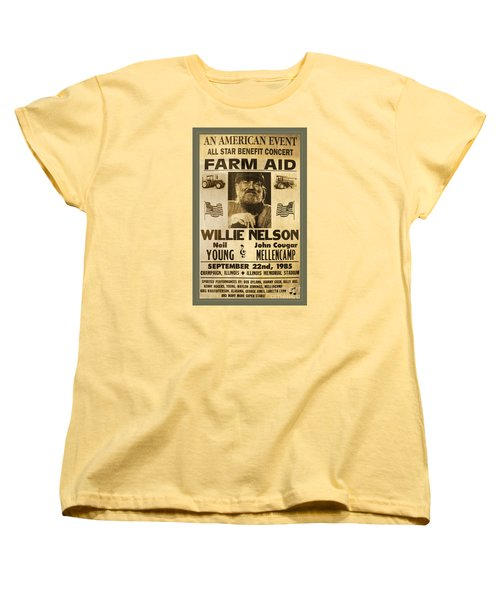 Vintage Willie Nelson 1985 Farm Aid Poster Women's T-Shirt (Standard Cut) by John Stephens