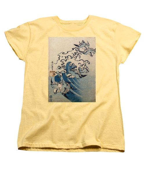 Waves And Birds Women's T-Shirt (Standard Cut) by Katsushika Hokusai
