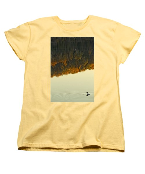 Loon In Opeongo Lake With Reflection Women's T-Shirt (Standard Cut) by Robert Postma